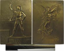 """Winner's Medal: Olympic Games 1900. - Bronzer Medal for Gymnastics: The front shows """"Republic"""