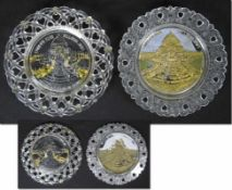 Olympic Games 1904. Commemorative plate - Two glass plates from the 1904 World's Fair in St.
