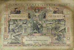 Olympic Games 1908. Diploma of honour - Original diploma of merit of the Olympic Games in London