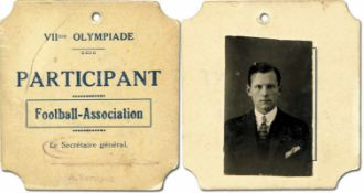 """Olympic Games 1920 Participation badge football - """"VIIme Olympiade Participant Football-"""