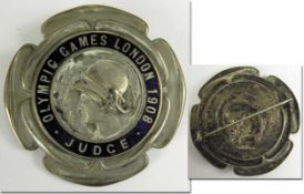 Olympic Games London 1908 Participation badge - Large official participantion badge for the