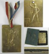 """Olympic Games 1900. Winner´s Medal Silver gilt - Front shows """"Republic Francaise. Exposition"""