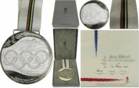 Olympic Winter Games 1992 Silver Winner medal - winner medal from the Olympic Games in Albertville
