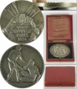 """Olympic Games Paris 1924. Silver Winner's Medal - for a scound place at the Olympics. Rim stamped """""""