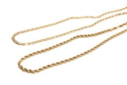 TWO GOLD NECKLACES, 22g