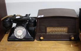 A Murphy valve radio in brown Bakelite case (NO. 378579); together with two black Bakelite