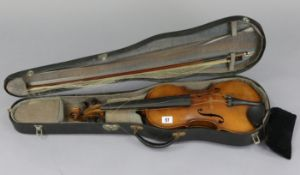 "A violin & bow, (violin 23½"" long - length of back 14""), with case."