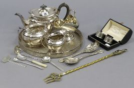 A silver plated three-piece tea service of oval form; together with various other items of