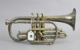 "A Hawkes & Son of London chrome-plated clippertone class A cornet (No. 39244), 13½"" long."