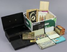 "A Reeves ""No. 54"" Student's Colour Box; a Rowney ""No. 60"" Watercolour box; a cash box; various"