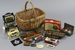 A Dansette transistor radio (Model No. 222); together with two wooden tennis racquets; seven die-
