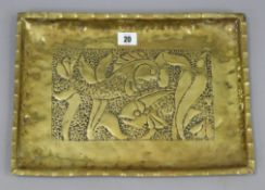 "A Newlyn-type brass rectangular tray with raised fish design to centre, 10½"" x 14¾""."