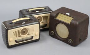 A Bush valve radio in brown Bakelite case, (Type D.A.C. 90A); & two Ultra valve radios, each in