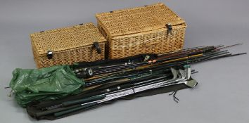 Six steel-shafted golf clubs; together with various fishing rods & reels, etc.; & two wicker