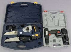 A Pro 18v cordless multi saw; & a Performance 14.4 drill, both w.o., cased.