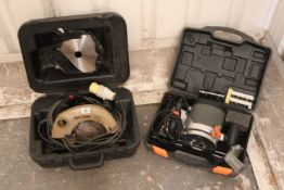 A Skill 110v circular saw; & a Challenge Xtreme 230v router, both w.o., cased.