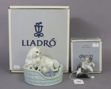 "A Lladro porcelain ornament of a cat & two kittens titled: ""Kitty Care""; & a ditto ornament"