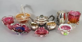 A silver plated three-piece tea service; together with various items of decorative china, pottery, &