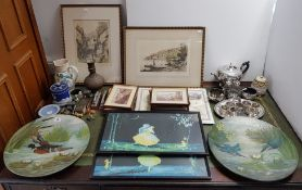 Thirteen various decorative pictures; together with various items of platedware, pottery, etc.