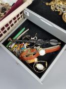 Various items of costume jewellery; together with five wristwatches; & three gilt-metal compacts.