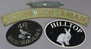 "A reproduction painted cast-iron locomotive name plate ""FLYING SCOTSMAN"", 35½"" long; together with"