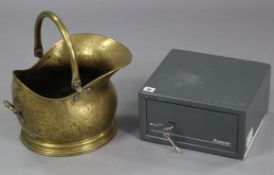 "A Sentry cast-metal safe, 12"" x 11"" x 6½"" (with two keys); together with a brass coal scuttle; &"
