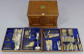 A late 19th/early 20th century part canteen of electro plated cutlery & flatware comprising of one