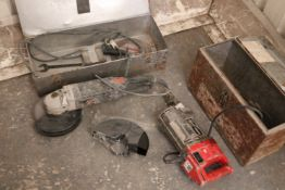 An AEG electric-operated angle grinder/disc cutter; & a Kango 240v breaker, both w.o., cased.