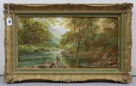 An oil painting on canvas by Andrew Grant Kurtis of a river landscape with fisherman to the