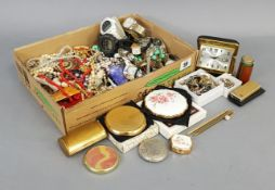 Two Stratton gilt-metal compacts; eleven various ladies & gents wristwatches; & various items of