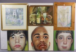 Three head & shoulder portrait studies by Mark Gilbert (oil on canvas); together with various