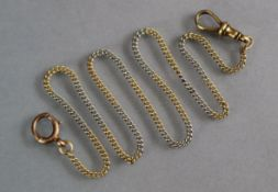 A watch chain of fine links in alternating lengths of yellow & white, the clip-fastener at one end