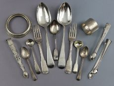 A George III silver Old English table spoon, London 1804, by Wm. Fearn; another, Exeter 1814, by