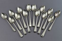 Twelve George III silver Old English Bead pattern teaspoons by George Smith III; & two slightly
