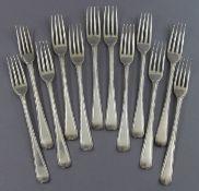 Twelve George III silver Old English Bead pattern dessert forks; five London 1776, one 1777, three