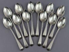 Twelve George III silver Old English Bead pattern dessert spoons by George Smith III; London 1778 (