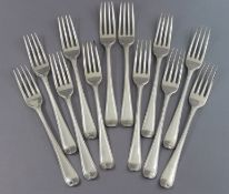Twelve George III silver Old English Bead pattern table forks; London 1783, by George Smith III. (