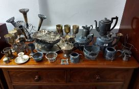 A silver-plated four-piece tea & coffee service of oval semi-fluted design; a silver-plated table