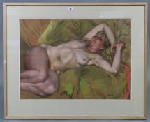 """KEN SYMONDS (b. 1927) A large pastel study titled to reverse """"Nude on Green"""", signed, 21"""" x 28¾"""";"""