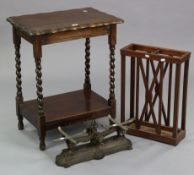 """A 1930's oak rectangular two-tier occasional table on barley-twist legs & turned feet, 22¾"""" wide;"""