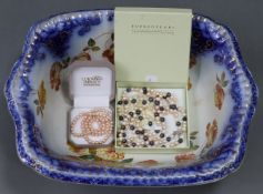"""A floral decorated rectangular toilet bowl, 19"""" wide; & a small quantity of costume jewellery."""