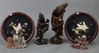 """Two carved wooden sage ornaments, 19"""" & 15"""" high; w.a.f.; two carved soapstone spill vases; & a pair"""
