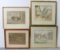 Fourteen various decorative paintings.