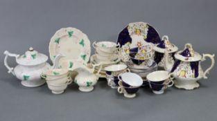 A Victorian floral decorated china twenty-five-piece part tea service; & a similar seventeen-piece
