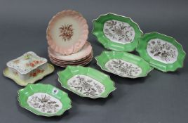 A set of three Spode rectangular serving dishes, with green borders & sepia printed floral
