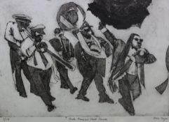 """A black & white Limited-Edition print after Rosie Sayer titled: """"South Rampart Street Parade"""","""