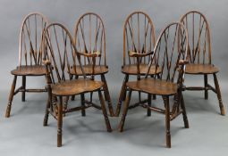 A SET OF SIX GOOD QUALITY REPRODUCTION ASH SPINDLE BACK DINING CHAIRS (including a pair of