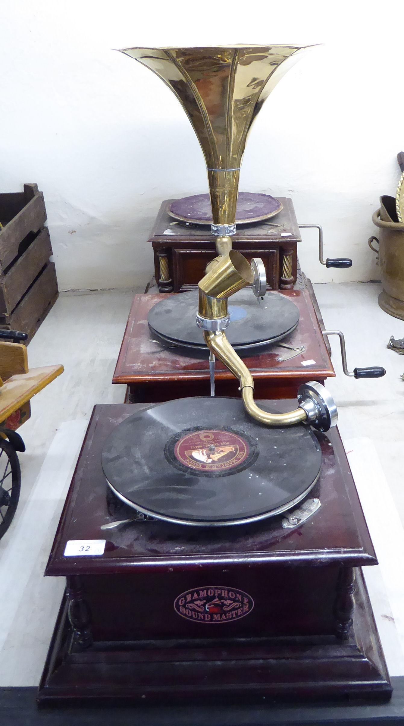 Lot 32 - Three similar HMV and Soundmaster gramophones,