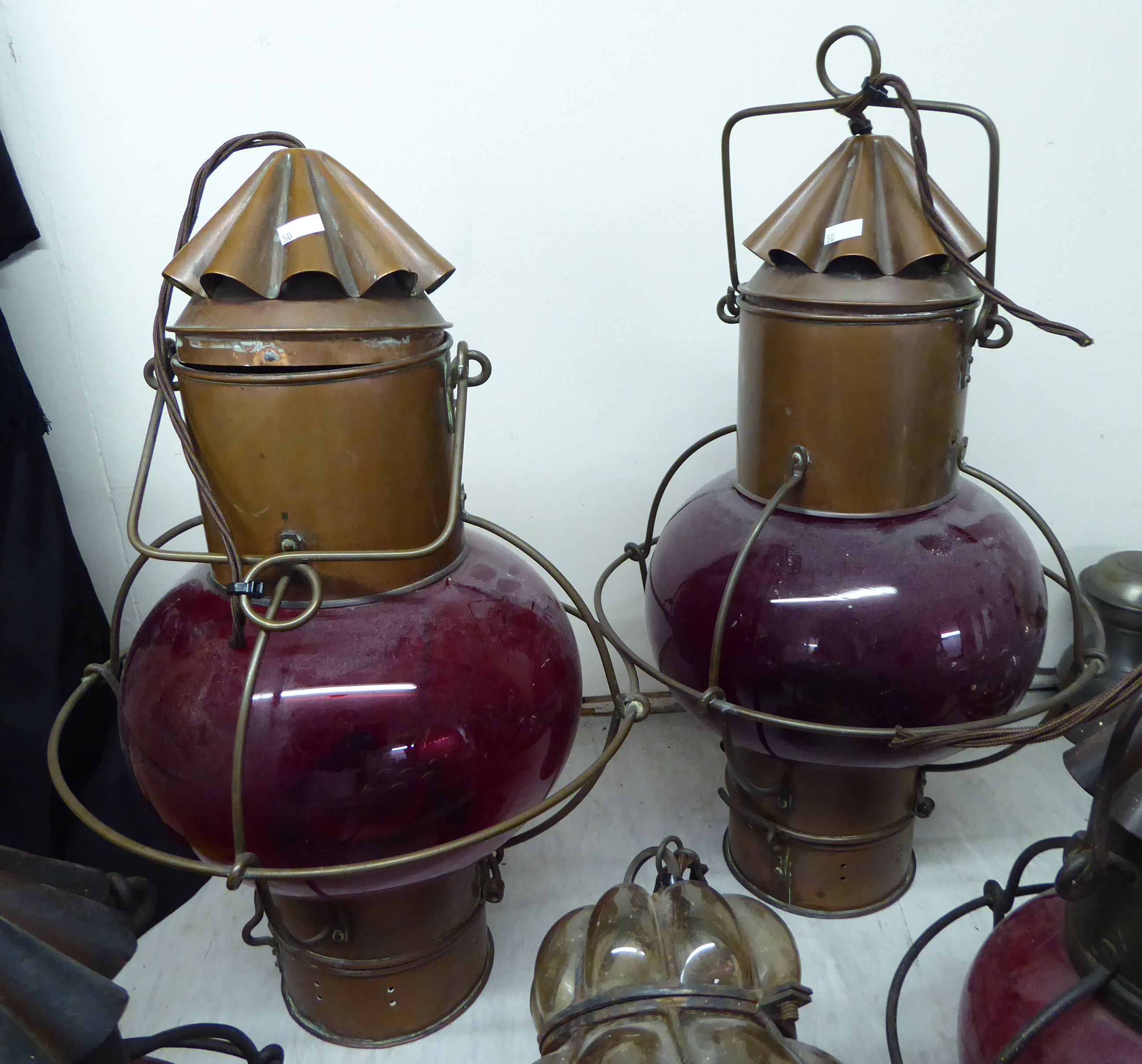Lot 50 - Early 20thC, mainly glass, hanging centre lights,