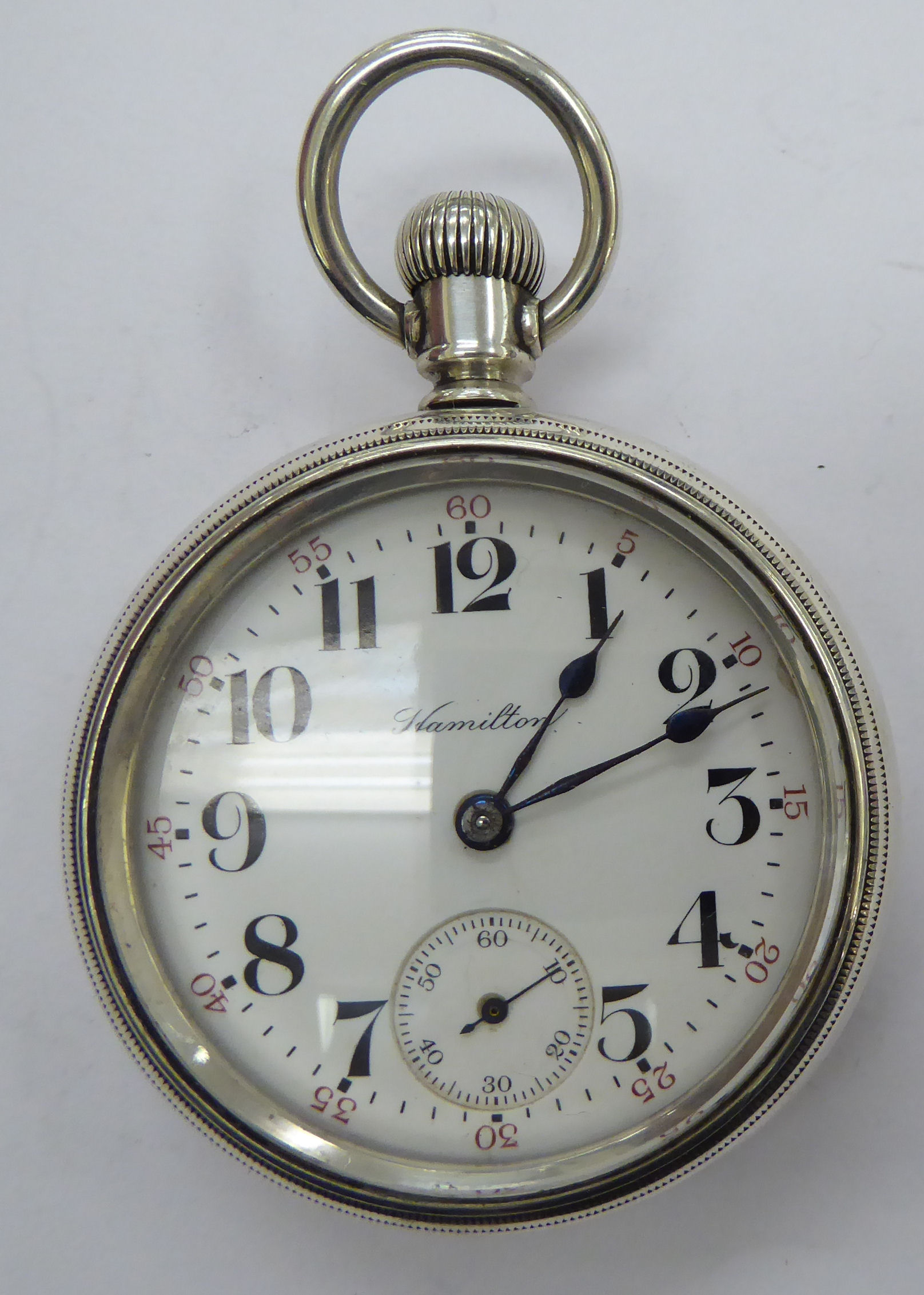 Lot 13 - A late 19thC Hamilton white metal cased station masters pocket watch,
